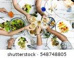 women communication dinner... | Shutterstock . vector #548748805