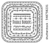 set of doodle borders  floral... | Shutterstock .eps vector #548758231