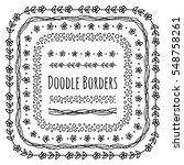 set of doodle borders ... | Shutterstock .eps vector #548758261