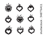 Flame Hearts Icons  Black Colo...