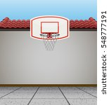 basketball goal on the roof... | Shutterstock .eps vector #548777191