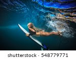 blonde surfer girl in bikini... | Shutterstock . vector #548779771