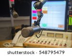 microphone and audio console in ... | Shutterstock . vector #548795479
