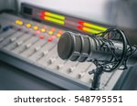 microphone and audio console in ... | Shutterstock . vector #548795551