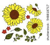 sunflower. floral print.... | Shutterstock .eps vector #548818717