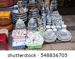 ceramic plates and bowls with... | Shutterstock . vector #548836705