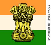 the flag and the emblem of india   Shutterstock .eps vector #548879719