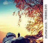 sunny early winter  morning.... | Shutterstock . vector #548881345