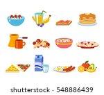 healthy breakfast food vector. | Shutterstock .eps vector #548886439