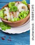 fresh hake on wooden background   Shutterstock . vector #548891395