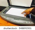 businessman scan doccument for... | Shutterstock . vector #548893501