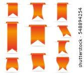 orange hanging curved ribbon... | Shutterstock .eps vector #548894254