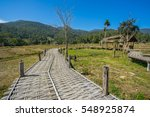 long bamboo bridge in pai ... | Shutterstock . vector #548925874