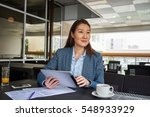 young female student is... | Shutterstock . vector #548933929