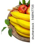 fresh fruit on old wooden plate ...   Shutterstock . vector #548947735