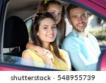 family with kids in car | Shutterstock . vector #548955739