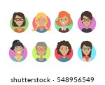 woman face emotive icons.... | Shutterstock .eps vector #548956549
