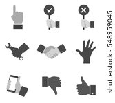 set of gray hand icons and...