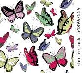 colorful butterflies seamless... | Shutterstock .eps vector #548967559
