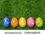 A Row Of Five Colorful Easter...