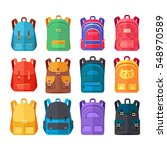 colorful school backpacks icons ... | Shutterstock .eps vector #548970589
