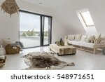 white attic room with balcony... | Shutterstock . vector #548971651