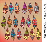 vector set of colorful boho... | Shutterstock .eps vector #548977564