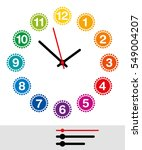 rainbow colored clock face with ... | Shutterstock .eps vector #549004207
