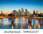 Frankfurt am Main. Cityscape image of Frankfurt am Main during sunset. - stock photo