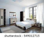 spacious and bright bedroom... | Shutterstock . vector #549012715