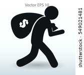thief with bag of money vector... | Shutterstock .eps vector #549021481