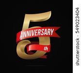 5 years anniversary golden logo ... | Shutterstock .eps vector #549023404