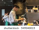 nara   jan 05  barista making... | Shutterstock . vector #549040015