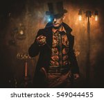 steampunk man with pocket watch ... | Shutterstock . vector #549044455