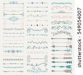 set of artistic hand drawn... | Shutterstock . vector #549054007