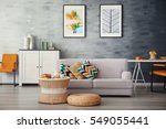 modern living room with sofa... | Shutterstock . vector #549055441