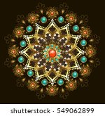 gold jewelery mandala ... | Shutterstock .eps vector #549062899
