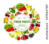 natural fruits round label with ... | Shutterstock .eps vector #549064789