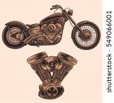 Motorcycle. Design Set. Hand...