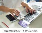 business men work with... | Shutterstock . vector #549067801