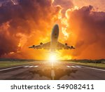 Silhouette Airplane Flying Tak...