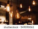 vintage edison light bulbs in... | Shutterstock . vector #549090061
