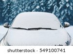 Frozen Car Covered Snow At...