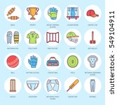 vector line icons of cricket... | Shutterstock .eps vector #549104911