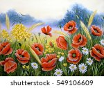 acrylic color painting of poppy ... | Shutterstock . vector #549106609