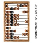 Small photo of Old wooden abacus isolated on a white background