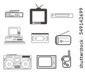 outline icons set of retro... | Shutterstock .eps vector #549142699