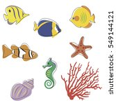 funny fishes and marine... | Shutterstock .eps vector #549144121
