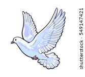 free flying white dove  sketch... | Shutterstock .eps vector #549147421