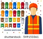 colored waste bins concept...   Shutterstock .eps vector #549153361